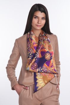 """Sirinbird silk scarf """"1-st cosmonaut"""" from collection """"Different country: Russia"""". 90x90 cm, natural silk. Designed by Sirinbird in Russia, produced in Italy"""