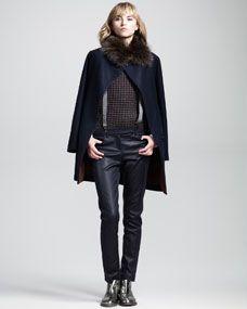 Brunello Cucinelli Knot-Button Blouse, Cap-Sleeve Sweater, Leather-Front Pants & Monili Metallic Suspenders | FW2013