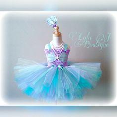 Under The Sea Princess Tutu Dress SET - US Shipping INCLUDED Mint Purple Aqua Teal Seashell Starfish Pearls Little Girls Mermaid Toddler