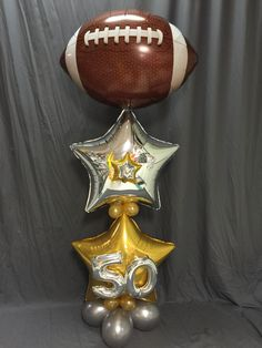 Football Balloon Decor #super bowl  #Balloonaticsevents