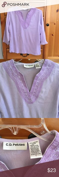 CD Petites: lavender long-sleeved top Front lines CD Petites: lavender, long-sleeved top. Front is lined with cotton. Detailed v-neck. Perfect condition. CD Petites Tops Blouses