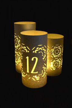 Paper Luminaries  Table Luminaries  Wedding Luminaries  Wedding  Centerpiece  Wedding Decor  Luminary  Table Numbers  Luminaries