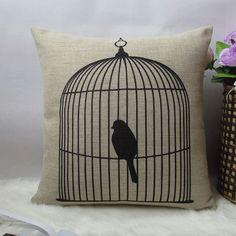 1 coton à la main linge simple noir oiseau en cage par linxge, $18.00