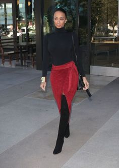 Get the Look: Draya Michele's LA Wolford Black Turtleneck, ASOS Red Suede Pencil Skirt with Slit, and Tom Ford Thigh High Boots