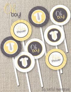 "DIY Printable Cupcake Toppers. Oh Boy Yellow and Grey Baby Shower 2"" Party Circles. totful memories."