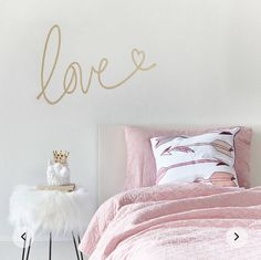 Love Wall Sticker Any individual can develop a home sweet house, even when the price range is tight. There are countless ideas and projects . Girls Room Wall Decor, Bedroom Decor For Teen Girls, Wall Decals For Bedroom, Cute Bedroom Ideas, Teen Bedroom, Baby Wall Stickers, Room Stickers, Love Wall, Pink Bedding