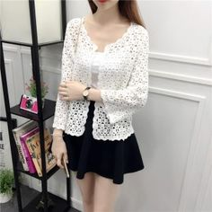 Camisas Mujer 2017 Spring Summer Crochet White Lace Blouse Women Fashion Tops Sexy Hollow Out Knitted Cardigan Chemise Femme 3 White Lace Blouse, Crochet Cardigan, White Beige, Sweaters For Women, Womens Fashion, Style Fashion, Front Porches, Spring Summer, Women's Vests