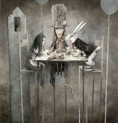 by Gabriel Pacheco [Wonderland Tea Party] [Alice, Hatter, Hare, Door Mouse] Art And Illustration, Gabriel Pacheco, Art Du Monde, Chesire Cat, Inspiration Art, Adventures In Wonderland, Wonderland Alice, Mad Hatter Tea, Paperclay
