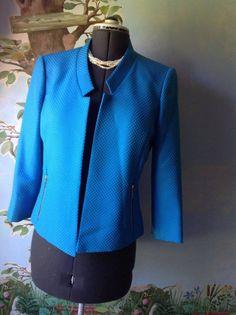 Kasper 3/4 Sleeve Blue Blazer Suit Jacket SZ 8 #Kasper #Blazer