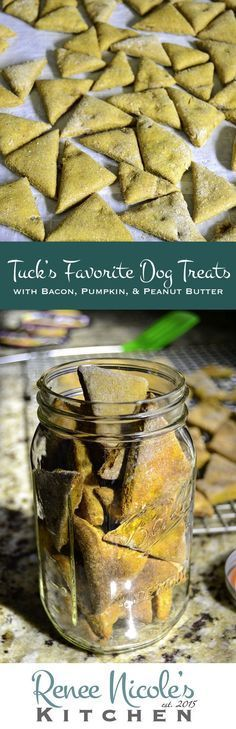 Nothing makes a pup happier than special dog treats. These easy homemade dog treats have Tuck's favorite ingredients: bacon, pumpkin, and peanut butter. Tuck gave these dog treats 4 paws up and asked for more. Puppy Treats, Diy Dog Treats, Homemade Dog Treats, Dog Treat Recipes, Dog Food Recipes, Food Tips, Homemade Food, Food Ideas, Food Dog