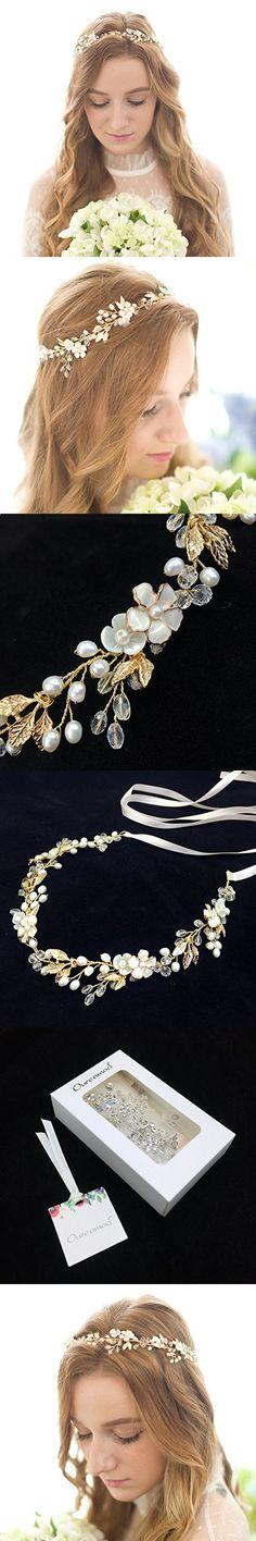 Oureamod Freshwater Pearls Bridal Headpiece Rhinestone Wedding Hair Accessories
