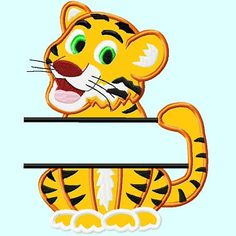Split Cute Tiger Applique Embroidery Design by LunaEmbroidery, $3.99