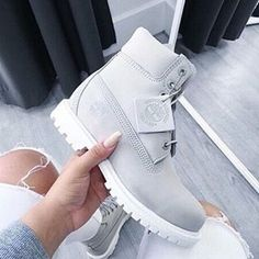Light gray timbs Never worn, but has a scratch on the top of the left shoe Timberland Shoes Combat & Moto Boots Dream Shoes, Crazy Shoes, Cute Shoes, Me Too Shoes, White Timberland Boots, Timberland Sneakers, Timberland Outfits, Heeled Boots, Outfits