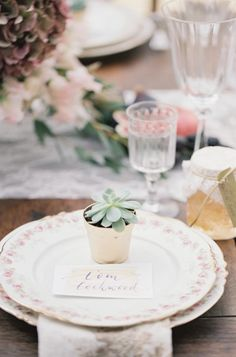 Succulent place cards and favors: http://www.stylemepretty.com/little-black-book-blog/2014/12/18/romantic-provencal-fig-berry-wedding-inspiration/ | Photography: Cat Hepple - http://www.cathepplephotography.com/