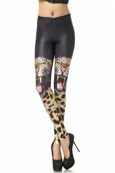 KCLOTH Leopard Printed Black Slim Fit Leggings