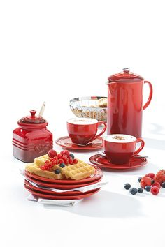 cappuccino; berry waffles; The Le Creuset Cafe Collection