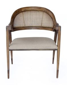 The Aiden Chair's architectural beauty is obvious with both refined curves and a sophisticated material mix. Outfitted with rattan peel backing and capped brass feet, its teak frame has been graciously constructed into a high-end dining chair. Dining Room Chairs, Side Chairs, Lounge Chairs, Accent Chairs For Sale, Comfortable Living Rooms, Wood Rounds, Occasional Chairs, Home Decor Furniture, Furniture Styles