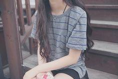 Oversized striped t-shirt.