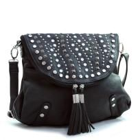Free Shipping New Studded top flap Messenger/Cross body bag-purse with tassel accents Black Crossbody Bag, Tote Bag, Sock Shoes, Fashion Handbags, Fashion Backpack, Purses And Bags, Messenger Bag, Tassels, Mens Fashion