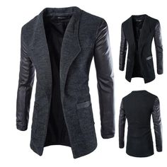 New Wool Long Coat with Leather Sleeves
