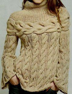 Patrones de Tejido Gratis: Suéter con trenzas                                                                                                                                                                                 Más