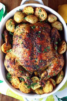 Lemon Herb Roasted Chicken Recipe -- Fresh lemon juice, olive oil and a variety of dried herbs season this delicious roasted chicken. It's crispy on the outside and juicy on the inside, and perfect for Sunday dinner. Pork Recipes For Dinner, Easy Holiday Recipes, Easy Soup Recipes, Turkey Recipes, Grilling Recipes, Appetizer Recipes, Dinner Dishes, Food Dishes, Main Dishes