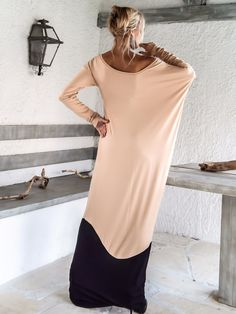 Nude Taupe & Black Maxi Dress / Nude Taupe Black от SynthiaCouture