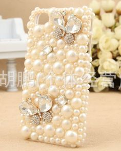 1PC Bling colorful pearls rhinestone phone case for iPhone 4 Case, Pearl iPhone 4s Case, iPhone 5C  Case, iPhone 5 Case iphone 5s case