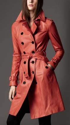 Burberry Long Lambskin Trench Coat in Red Trench Coats, Burberry Trench Coat, Leather Trench Coat, Love Fashion, Womens Fashion, Petite Fashion, Curvy Fashion, Style Fashion, Coat Dress