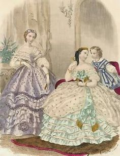 1860's Fashion plate of woman in summer dresses