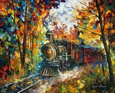 Old Train  ORIGINAL Oil Painting On Canvas By Leonid Afremov.