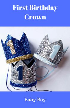 Ready Stock - 1st Birthday hat, gold hat, First Birthday Hat, photo props, silver, royal blue,navy ,Baby Boy Smash Cake Photo Prop #afflink