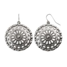 Openwork Textured Medallion Drop Earrings, Women's, Silver