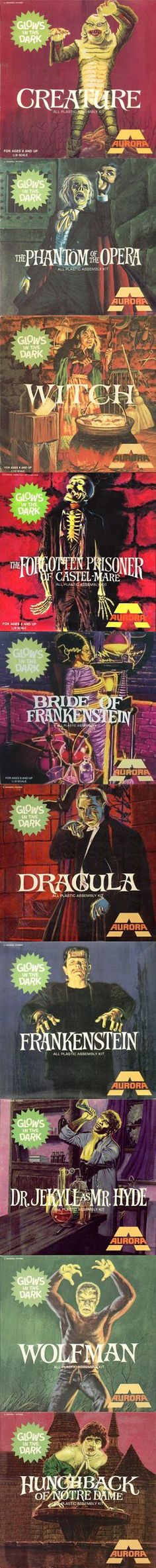 The success of Frankenstein led Aurora to develop and deliver a total of 13 monster kits within six years. Dracula and The Wolf Man came in 1962, while 1963 gave rise to The Mummy, The Creature, and The Phantom of the Opera. In 1964, Aurora debuted The Hunchback of Notre Dame, Dr. Jekyll as Mr. Hyde, King Kong, and Godzilla. And in a nod to femme fatales, the Salem Witch and The Bride of Frankenstein were also unveiled. In 1966, Aurora released its final classic monster kit, The Forgotten…