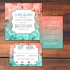 Wedding Invitation Vintage Lace Coral Turquoise Vintage lace