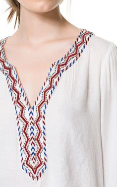 BLOUSE WITH EMBROIDERED NECKLINE - Tops - Woman - ZARA Finland
