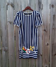 S Small Vintage 80s Sharon Young Navy Blue by PinkCheetahVintage