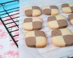 Biscuits damiers au chocolat au lait et chocolat blanc