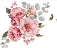 Best Background Images, Birth Flowers, Botanical Flowers, Vintage Flowers, Watercolor Flowers, Flower Designs, Flower Art, Florals, Decoupage