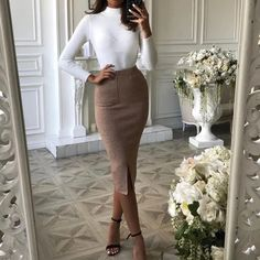Liotty Classic High Neck Long Sleeve Solid Color Sweater Two-Piece Dress - Source by alinaloewen - Classy Chic, Classy Dress, Classy Outfits, Chic Outfits, Trendy Outfits, Fashion Outfits, Classy Looks, Ootd Classy, Classic Work Outfits