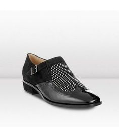 Jimmy Choo Bay Black/Silver Black Patent and Suede Brogues with