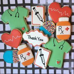 Nurse Hospital Medicine Thank You Congratulations Decorated Sugar Cookies Cookie Icing, Royal Icing Cookies, Cupcake Cookies, Yummy Cookies, Happy Birthday Cookie, Birthday Cookies, Art Party Foods, Nurse Cookies, Almond Sugar Cookies