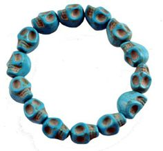 Tibetan Prayer Beads Turquoise Color Skull Bracelet, Skull Beads, Skull Prayer Beads, Skull Wrist Mala Skull Bracelet. $8.98. Bead Size: 12mm. Made from Magnesite (Dyed) Gemstone Beads. Handmade in Nepal. Protects You from Evil Spirits. Elastic Cord; One Size Fits All