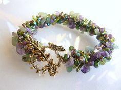 Crocheted Jewelry - Beads and Crochet -  Lavendar Fields Crochet Bracelet. $32.00, via Etsy.
