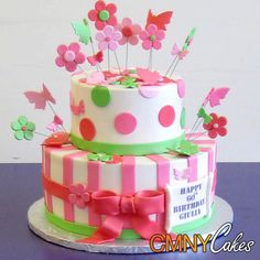 Flowers And Butterflies Birthday Cake