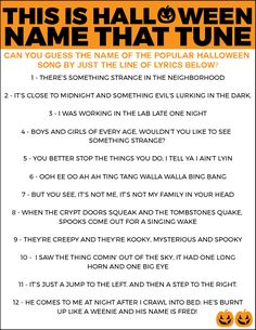 Free printable Halloween game idea for this year's Halloween party! Just print, hand out to guests, and see who can guess popular Halloween songs just by their lyrics alone! halloween games Free Printable Halloween Name that Tune Game - Play. Halloween Tags, Halloween Party Names, Halloween Games Adults, Halloween Scavenger Hunt, Halloween School Treats, Halloween Music, Halloween Costumes For Teens, Halloween Birthday, Easy Halloween