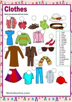 This worksheet practices clothes. The students have to number the images. Then…