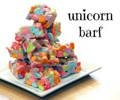 unicorn barf- like a rice crispy but made with lucky charms marshmallows. this will pair nicely with d's signature unicorn poop cookies.