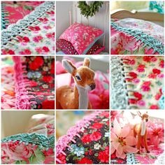 I love the wonderful colors of these pillowcases and crocheted trim!