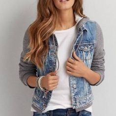 Hooded Denim Jacket Denim jacket with fleece sleeves & hood! Perfect condition, size medium from American Eagle American Eagle Outfitters Jackets & Coats Jean Jackets